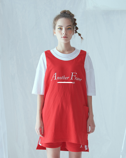 BASIC LOGO POCKET SLEEVELESS (RED)