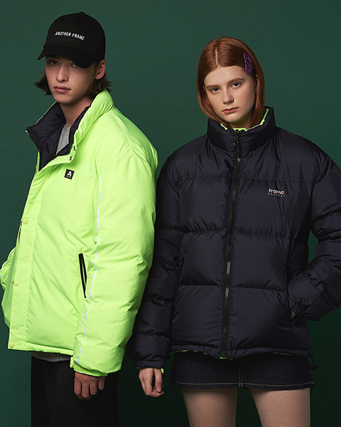 PUFFY REVERSIBLE DOWN JACKET (NAVY/GREEN)