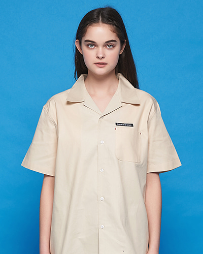 ★썸머세일★NANALAND OPEN COLLAR SHIRT (BEIGE)