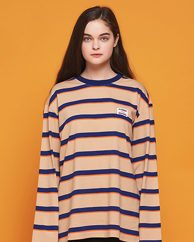 BOLD STRIPE LONG SLEEVE (BEIGE/BLUE)