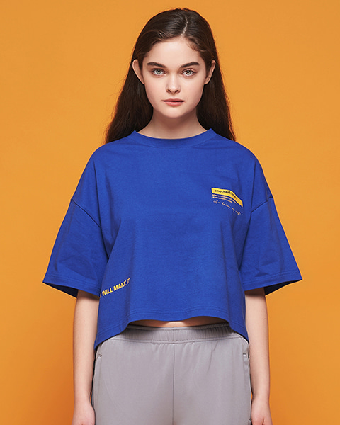 BRUSH LOGO CROP T-SHIRT (BLUE)