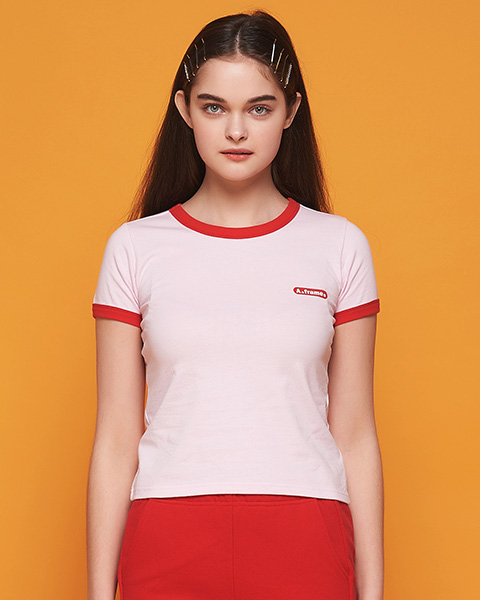 MILK COLOR RINGER T-SHIRT (PINK)