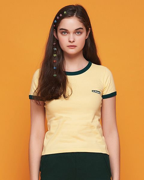 ★썸머세일★MILK COLOR RINGER T-SHIRT (LEMON)