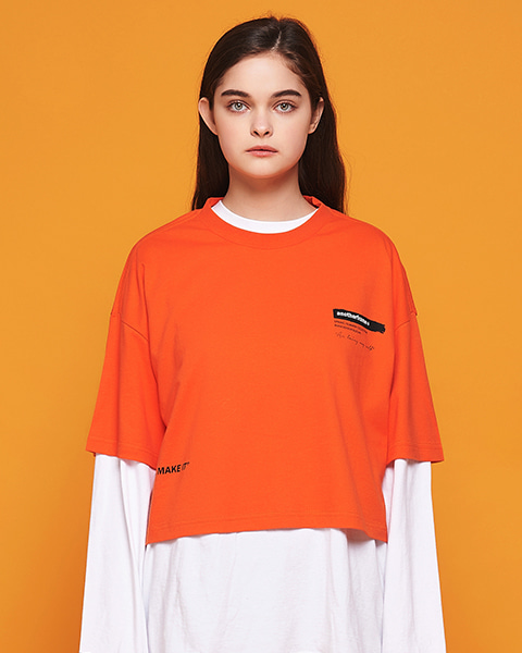 BRUSH LOGO CROP T-SHIRT (ORANGE)
