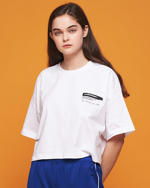 ★썸머세일★BRUSH LOGO CROP T-SHIRT (WHITE)