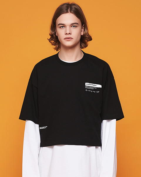 BRUSH LOGO CROP T-SHIRT (BLACK)