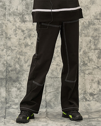STITCH POINT TWILL CARPENTER PANTS (BLACK)