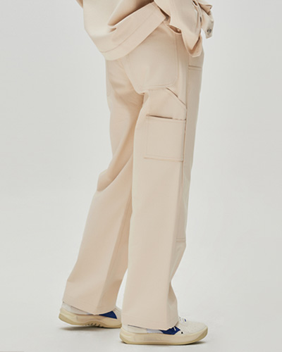STITCH POINT TWILL CARPENTER PANTS (IVORY)