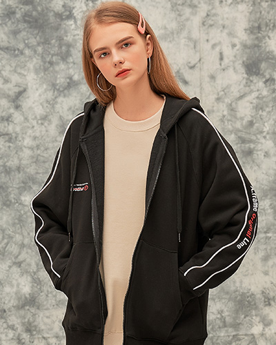 ORIGINAL LINE HOOD ZIP-UP (BLACK)