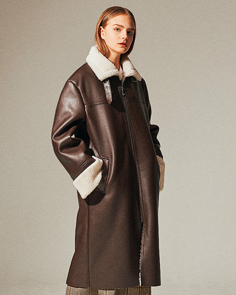 LEATHER FLEECE LONG MUSTANG COAT (BROWN)