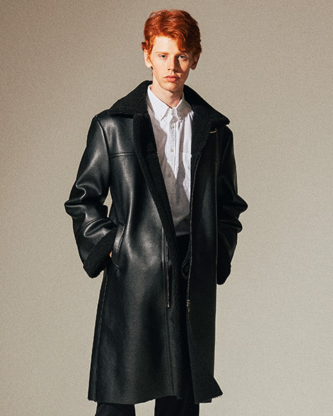 LEATHER FLEECE LONG MUSTANG COAT (BLACK)