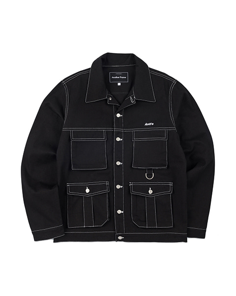STITCH POINT TWILL TRUCKER JACKET (BLACK)