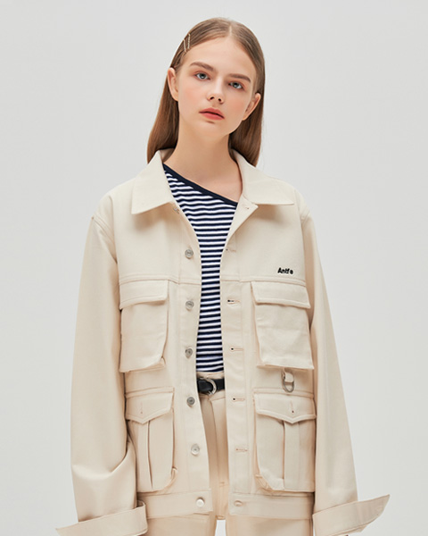STITCH POINT TWILL TRUCKER JACKET (IVORY)
