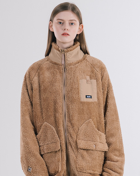 ANTF FLEECE ZIP-UP JACKET (BEIGE)