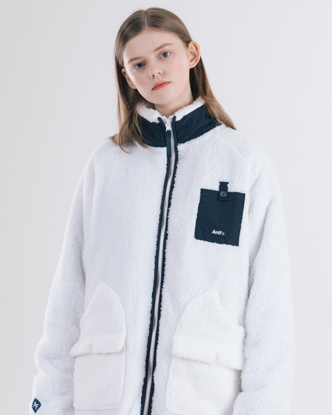 ANTF FLEECE ZIP-UP JACKET (IVORY)